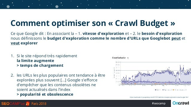 #seocamp Ce que Google dit : En associant la – 1. vitesse d'exploration et – 2. le besoin d'exploration nous définissons l...