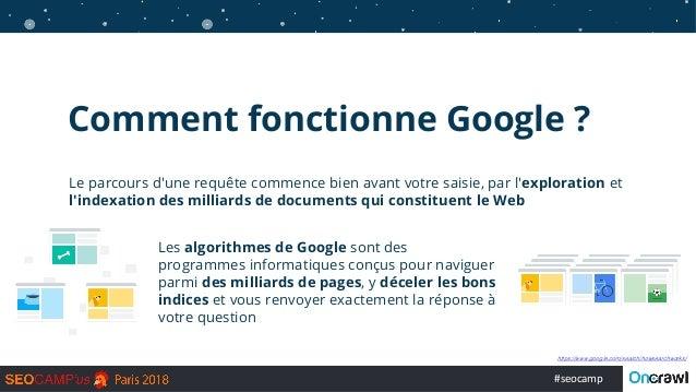 #seocamp Comment fonctionne Google ? Les algorithmes de Google sont des programmes informatiques conçus pour naviguer parm...
