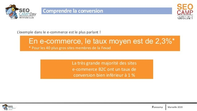 Marseille 2019#seocamp Comprendre la conversion L'exemple dans le e-commerce est le plus parlant ! En e-commerce, le taux ...