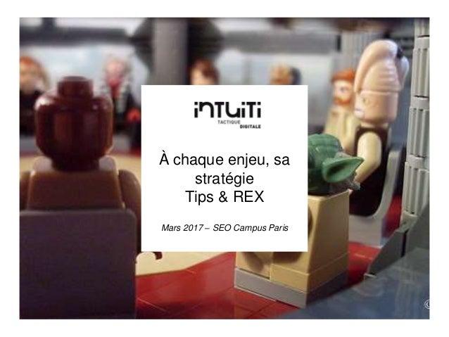 À chaque enjeu, sa stratégie Tips & REX Mars 2017 – SEO Campus Paris