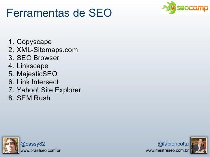 Apresentação do SEOCamp - SEO Tools e Linkbuilding Slide 2