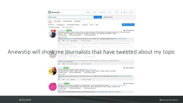 #SEOCAMP @lauracrimmons Anewstip will show me journalists that have tweeted about my topic