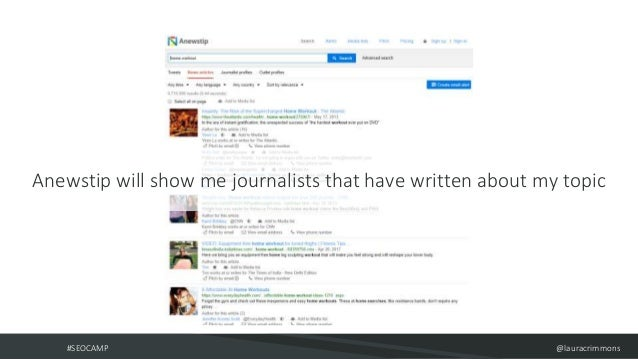 #SEOCAMP @lauracrimmons Anewstip will show me journalists that have written about my topic