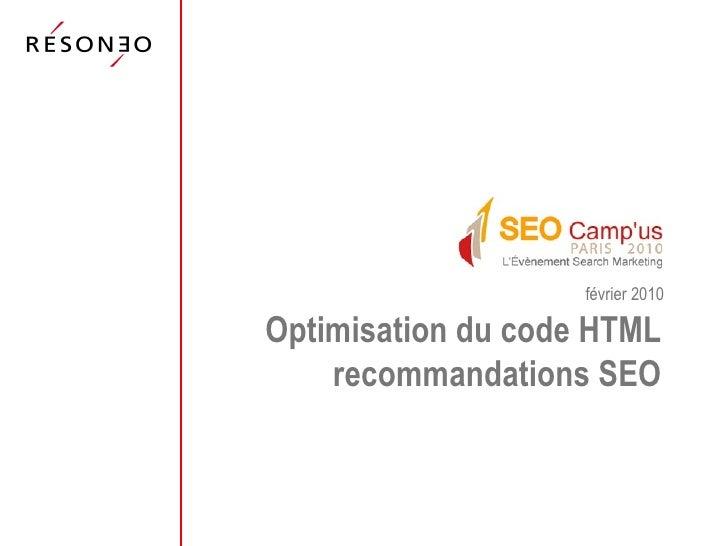 Optimisation du code HTML recommandations SEO février 2010