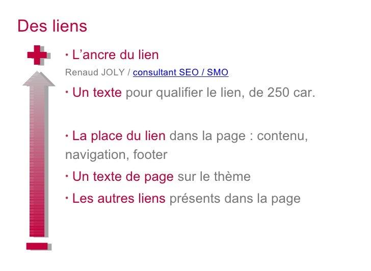 Des liens <ul><li>L'ancre du lien  </li></ul><ul><li>Renaud JOLY /  consultant SEO / SMO </li></ul><ul><li>Un texte  pour ...