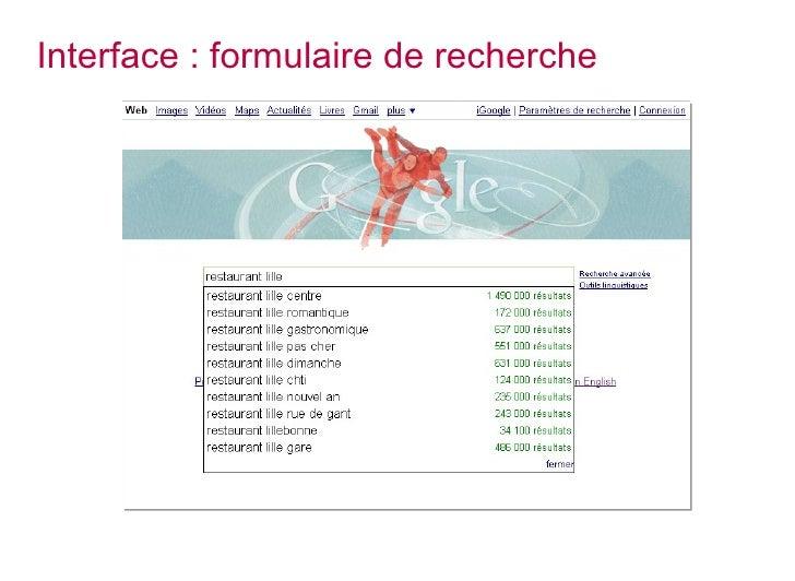 Interface : formulaire de recherche