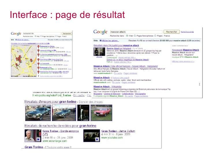 Interface : page de résultat