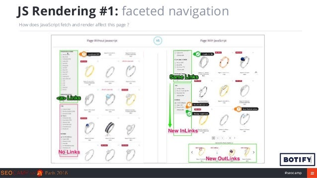 22#seocamp JS Rendering #1: faceted navigation How does JavaScript fetch and render affect this page ?