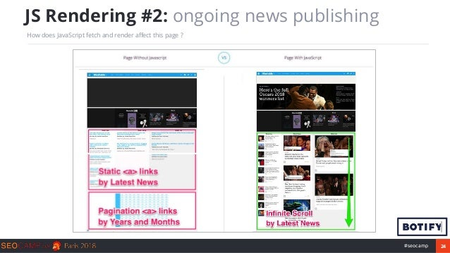 24#seocamp JS Rendering #2: ongoing news publishing How does JavaScript fetch and render affect this page ?