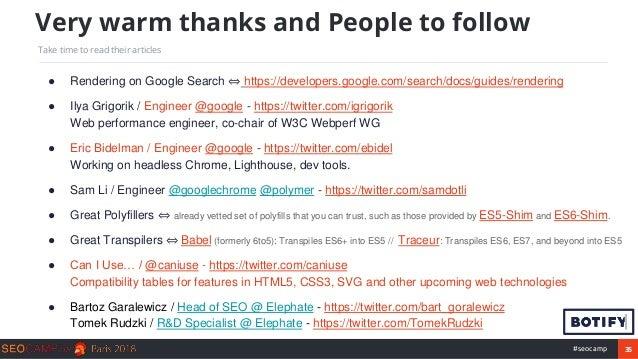 35#seocamp ● Rendering on Google Search ⇔ https://developers.google.com/search/docs/guides/rendering ● Ilya Grigorik / Eng...