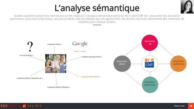 13#seocamp L'analyse sémantique Quelles questions posent les internautes sur les moteurs ? L'analyse sémantique porte sur ...