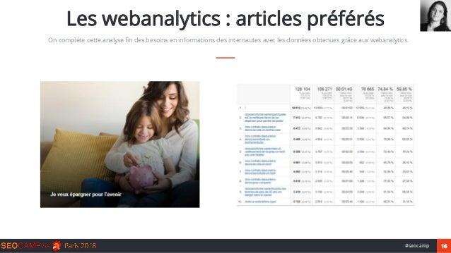 16#seocamp Les webanalytics : articles préférés On complète cette analyse fin des besoins en informations des internautes ...