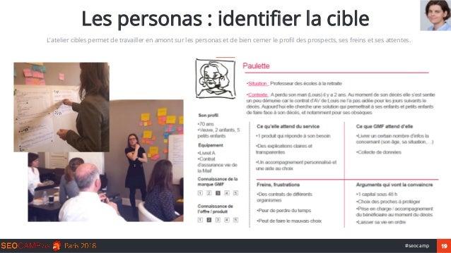 19#seocamp Les personas : identifier la cible L'atelier cibles permet de travailler en amont sur les personas et de bien c...