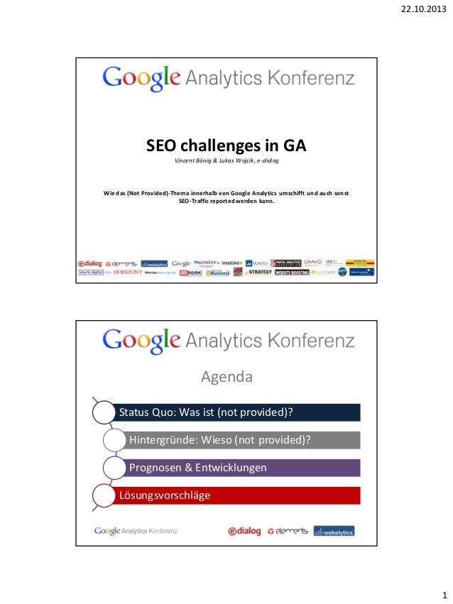 22.10.2013  SEO challenges in GA Vincent Bönig & Lukas Wojcik, e-dialog  Wie das (Not Provided)-Thema innerhalb von Google...