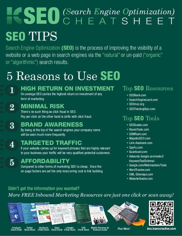 SEO C H E A T S H E E T               (Search Engine Optimization)SEO TIPSSearch Engine Optimization (SEO) is the process ...