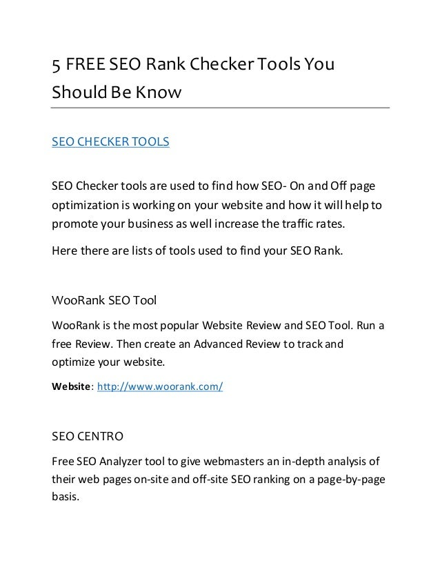 5 FREE SEO Rank Checker Tools You  Should Be Know  SEO CHECKER TOOLS  SEO Checker tools are used to find how SEO- On and O...