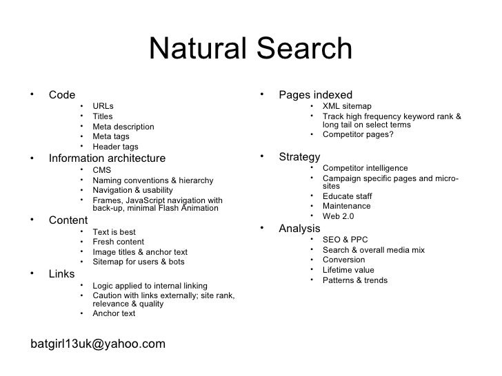 Natural Search <ul><li>Code </li></ul><ul><ul><ul><li>URLs </li></ul></ul></ul><ul><ul><ul><li>Titles </li></ul></ul></ul>...