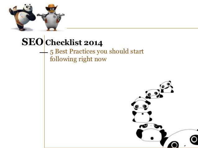 SEO Checklist 2014 5 Best Practices you should start following right now