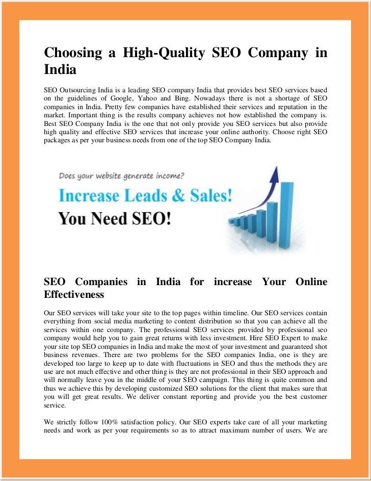 Choosing a High-Quality SEO Company inIndiaSEO Outsourcing India is a leading SEO company India that provides best SEO ser...