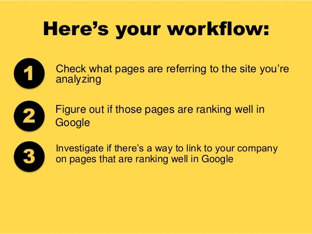 Here's your workflow: Check what pages are referring to the site you're analyzing Figure out if those pages are ranking we...