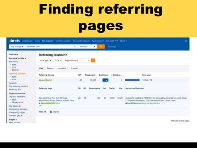 Finding referring pages