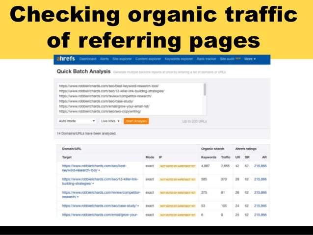 Checking organic traffic of referring pages