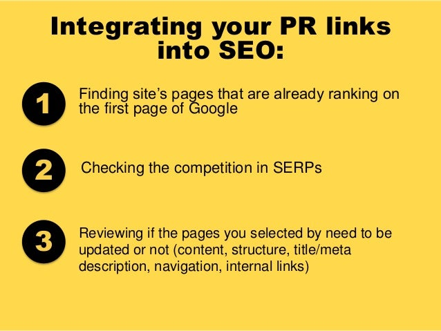 Integrating your PR links into SEO: Finding site's pages that are already ranking on the first page of Google Checking the...