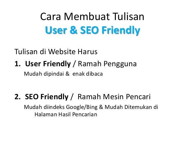 Menulis Untuk Website User Seo Friendly Content Writing