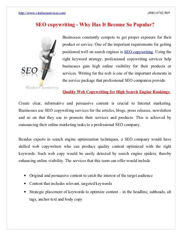 http://www.viralseoservices.com                                               (800) 6702 809           SEO copywriting - W...