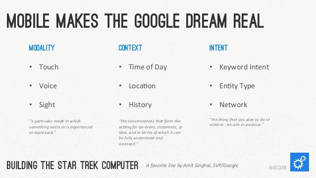 """Mobile Makes The Google Dream Real Modality    • Touch      • Voice      • Sight       """"a  par&cular  ..."""