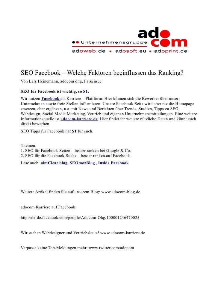 SEO Facebook – Welche Faktoren beeinflussen das Ranking? Von Lars Heinemann, adocom ohg, Falkensee  SEO für Facebook ist w...