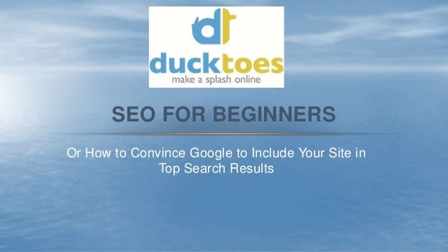 Or How to Convince Google to Include Your Site in Top Search Results SEO FOR BEGINNERS