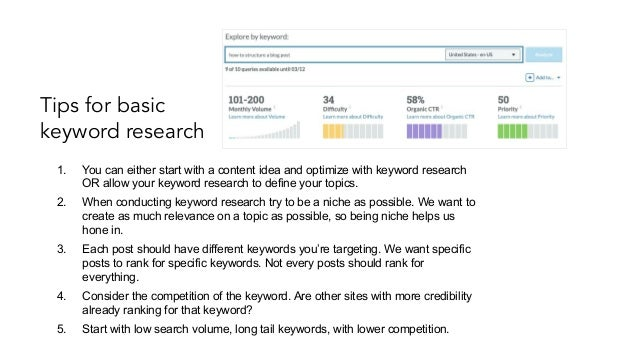 SEO resources Moz - keyword research (free for 10 searches per month) SEMRush - keyword research and competitor informatio...