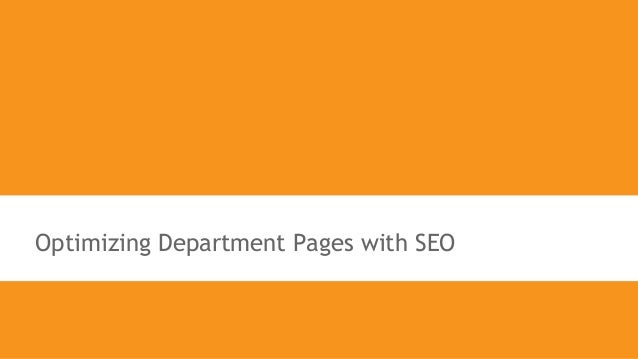 Optimizing Department Pages with SEO