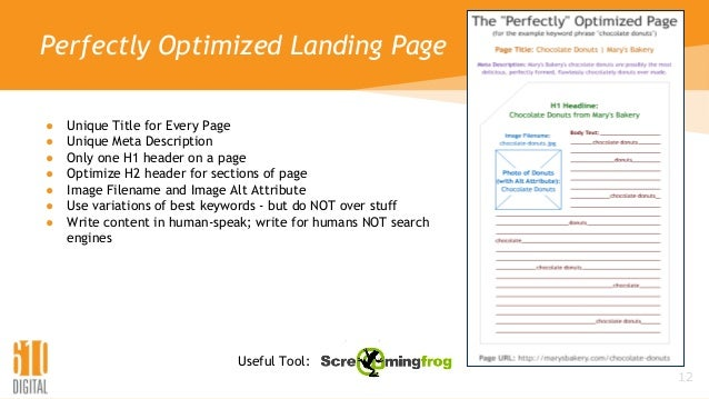 Perfectly Optimized Landing Page ● Unique Title for Every Page ● Unique Meta Description ● Only one H1 header on a page ● ...