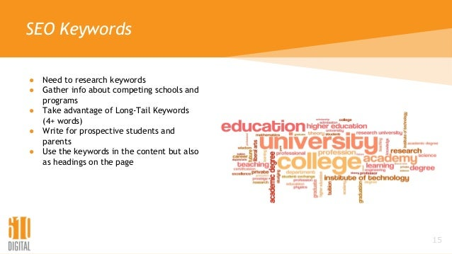 SEO Keywords ● Need to research keywords ● Gather info about competing schools and programs ● Take advantage of Long-Tail ...