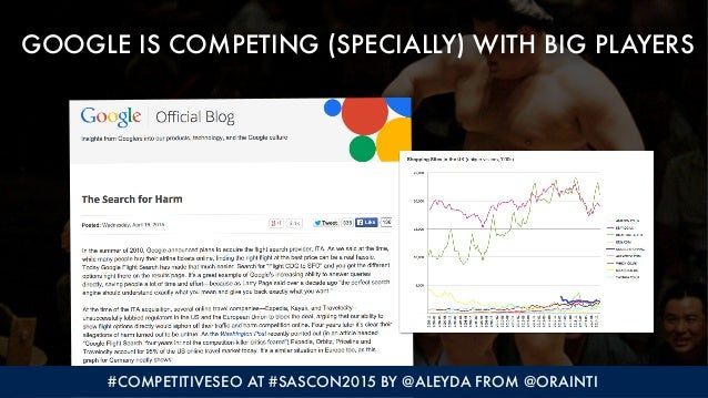 GOOGLE IS COMPETING (SPECIALLY) WITH BIG PLAYERS #COMPETITIVESEO AT #SASCON2015 BY @ALEYDA FROM @ORAINTI