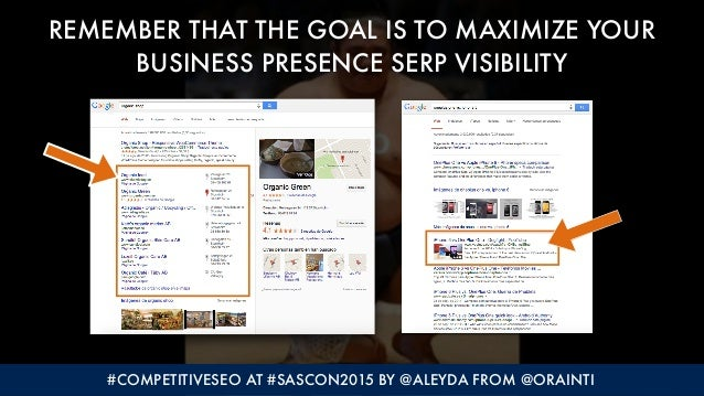 #COMPETITIVESEO AT #SASCON2015 BY @ALEYDA FROM @ORAINTI REMEMBER THAT THE GOAL IS TO MAXIMIZE YOUR BUSINESS PRESENCE SERP ...