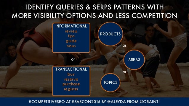#COMPETITIVESEO AT #SASCON2015 BY @ALEYDA FROM @ORAINTI IDENTIFY QUERIES & SERPS PATTERNS WITH 