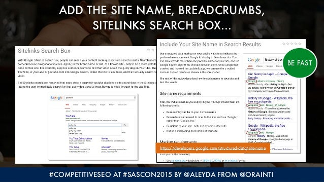 #COMPETITIVESEO AT #SASCON2015 BY @ALEYDA FROM @ORAINTI ADD THE SITE NAME, BREADCRUMBS, 