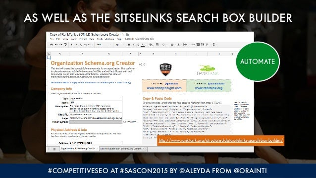 #COMPETITIVESEO AT #SASCON2015 BY @ALEYDA FROM @ORAINTI AS WELL AS THE SITSELINKS SEARCH BOX BUILDER http://www.ranktank.o...