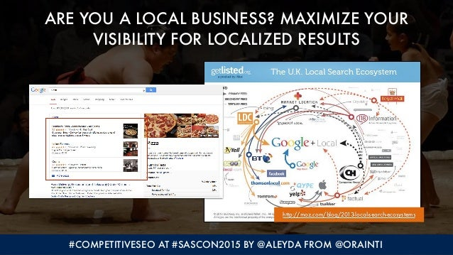 #COMPETITIVESEO AT #SASCON2015 BY @ALEYDA FROM @ORAINTI ARE YOU A LOCAL BUSINESS? MAXIMIZE YOUR 