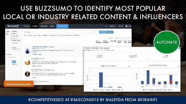 #COMPETITIVESEO AT #SASCON2015 BY @ALEYDA FROM @ORAINTI USE BUZZSUMO TO IDENTIFY MOST POPULAR  LOCAL OR INDUSTRY RELATED ...