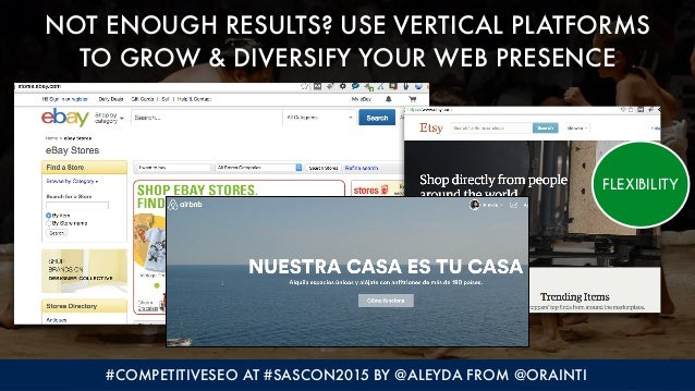 #COMPETITIVESEO AT #SASCON2015 BY @ALEYDA FROM @ORAINTI NOT ENOUGH RESULTS? USE VERTICAL PLATFORMS  TO GROW & DIVERSIFY Y...