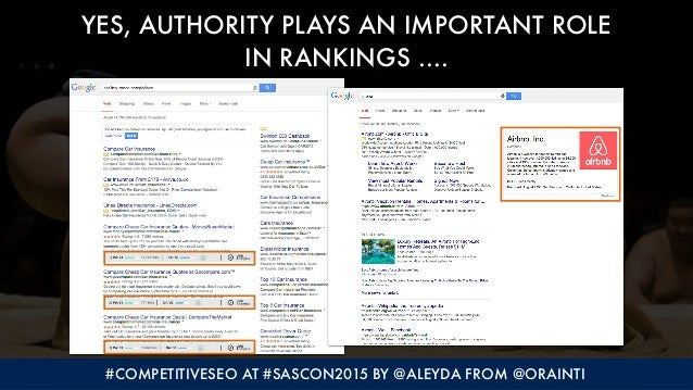 #COMPETITIVESEO AT #SASCON2015 BY @ALEYDA FROM @ORAINTI YES, AUTHORITY PLAYS AN IMPORTANT ROLE  IN RANKINGS ….