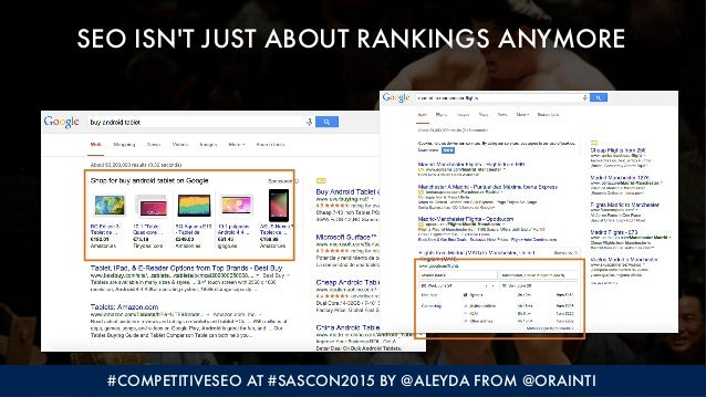#COMPETITIVESEO AT #SASCON2015 BY @ALEYDA FROM @ORAINTI SEO ISN'T JUST ABOUT RANKINGS ANYMORE