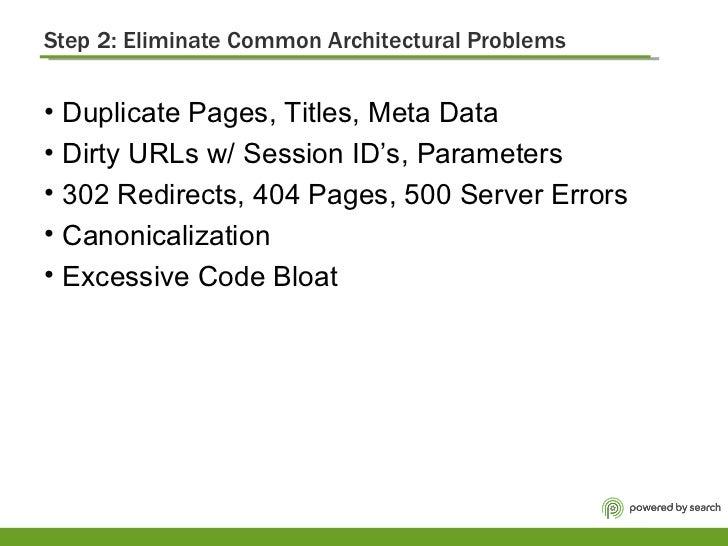 Step 2: Eliminate Common Architectural Problems <ul><li>Duplicate Pages, Titles, Meta Data  </li></ul><ul><li>Dirty URLs w...