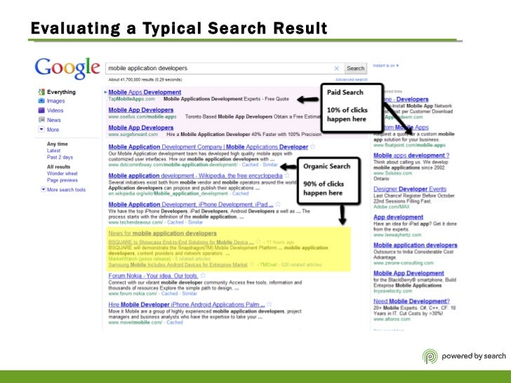 Evaluating a Typical Search Result