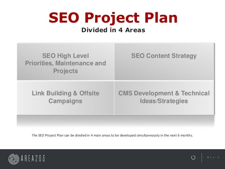 SEO Project Plan                                 Divided in 4 Areas      SEO High Level                                   ...