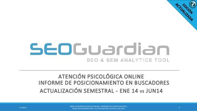 ATENCIÓN PSICOLÓGICA ONLINE INFORME DE POSICIONAMIENTO EN BUSCADORES ACTUALIZACIÓN SEMESTRAL - ENE 14 VS JUN14 17/1/2014 E...